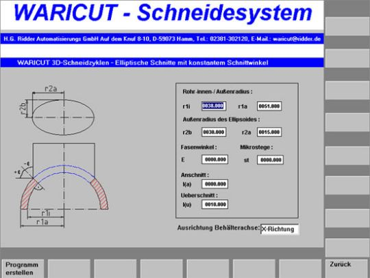 Bildschirmmaske: Elliptische Durchdringung im Rohr